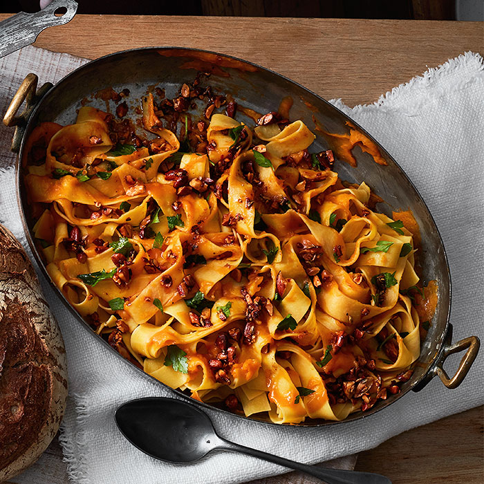Pappardelle With Creamy Butternut Squash Sauce and Spiced Almonds