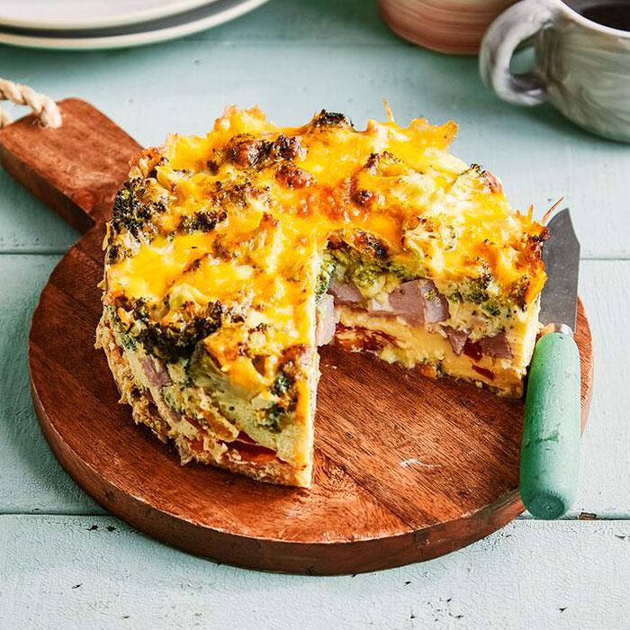 Broccoli, Ham, and Pepper Frittata