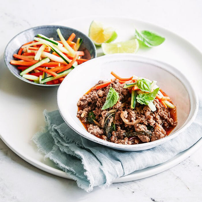 Spicy Basil Beef Bowls